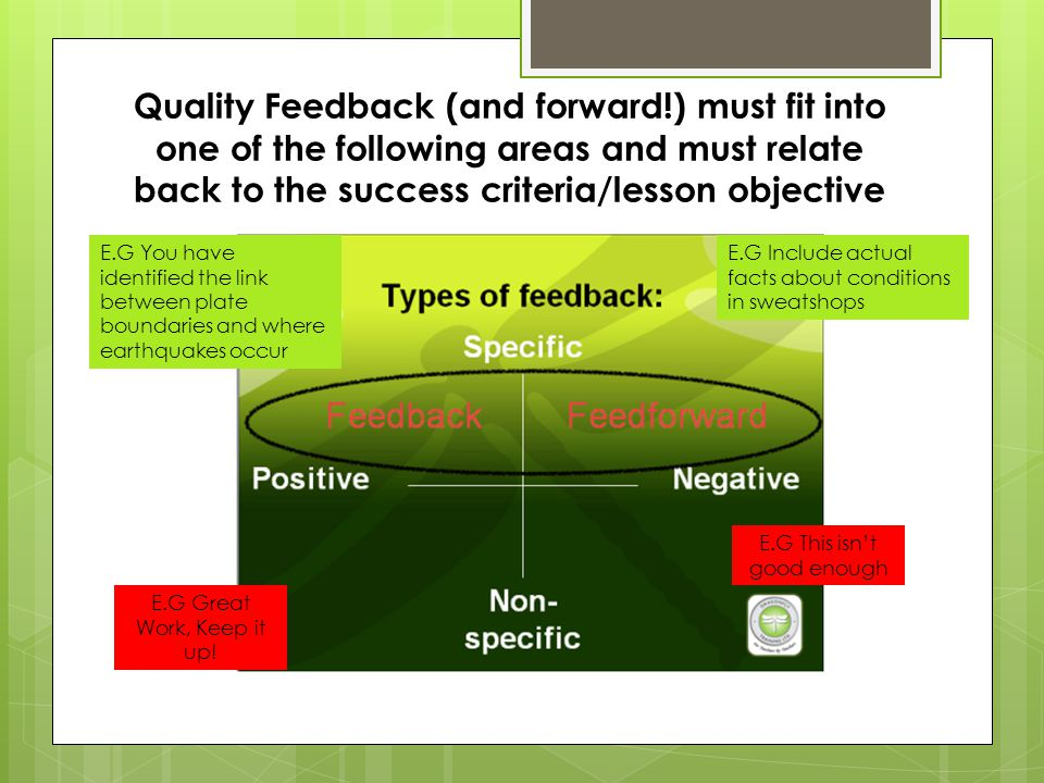 Quality Feedback (and forward!) must fit into one of the following areas and must relate back to the success criteria/lesson objective E.G Great Work,