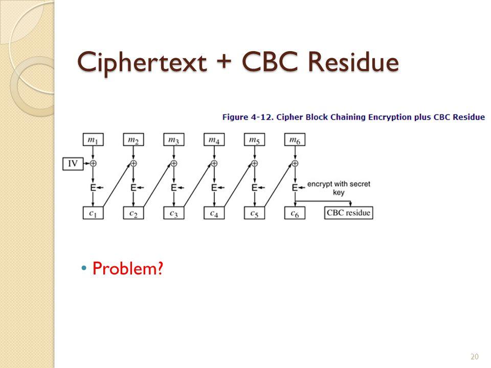 Ciphertext + CBC Residue 20 Problem?