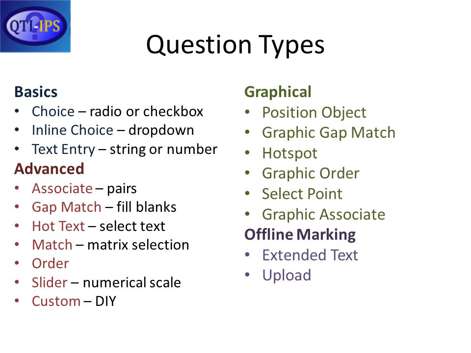Question Types Basics Choice – radio or checkbox Inline Choice – dropdown Text Entry – string or number Advanced Associate – pairs Gap Match – fill blanks Hot Text – select text Match – matrix selection Order Slider – numerical scale Custom – DIY Graphical Position Object Graphic Gap Match Hotspot Graphic Order Select Point Graphic Associate Offline Marking Extended Text Upload