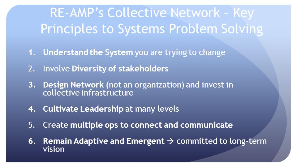 RE-AMPs Collective Network – Key Principles to Systems Problem Solving 1.Understand the System you are trying to change 2.Involve Diversity of stakeho