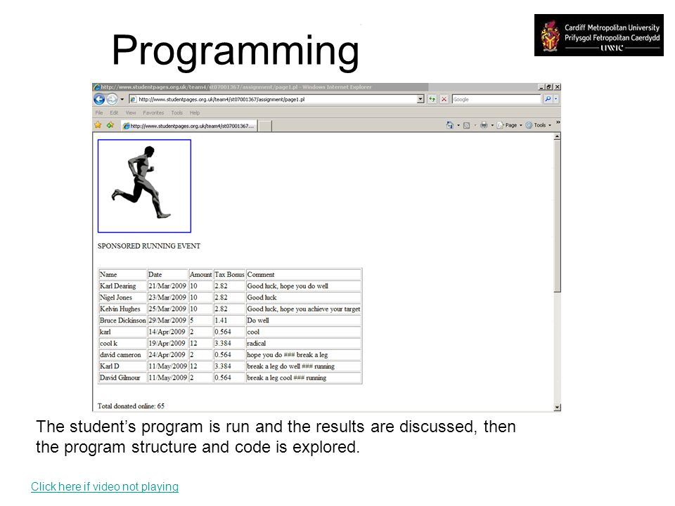 Programming The students program is run and the results are discussed, then the program structure and code is explored.
