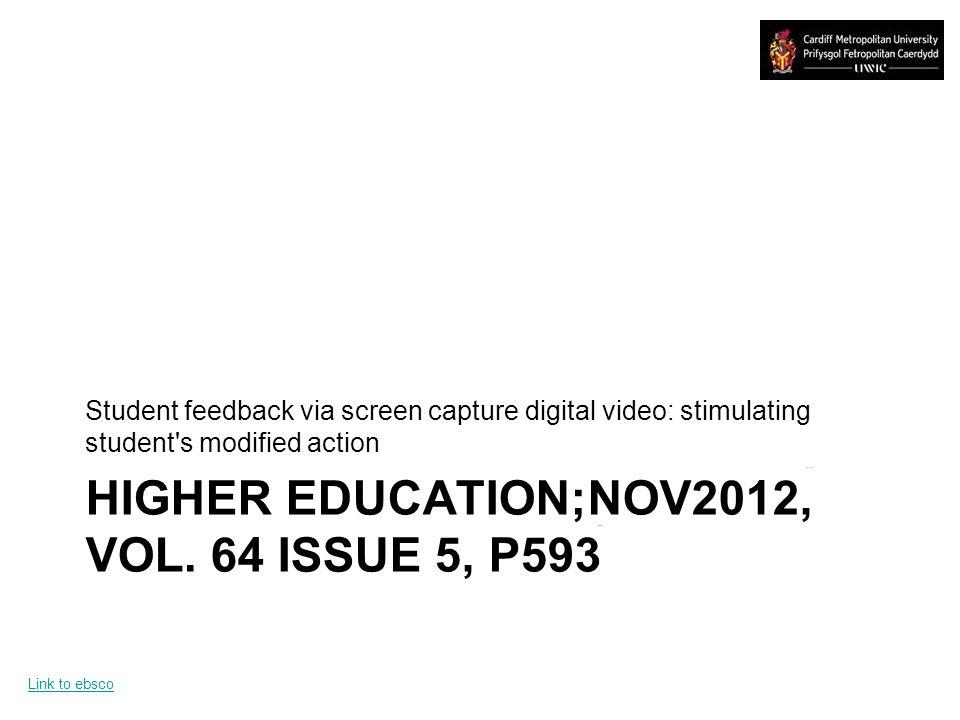 HIGHER EDUCATION;NOV2012, VOL.