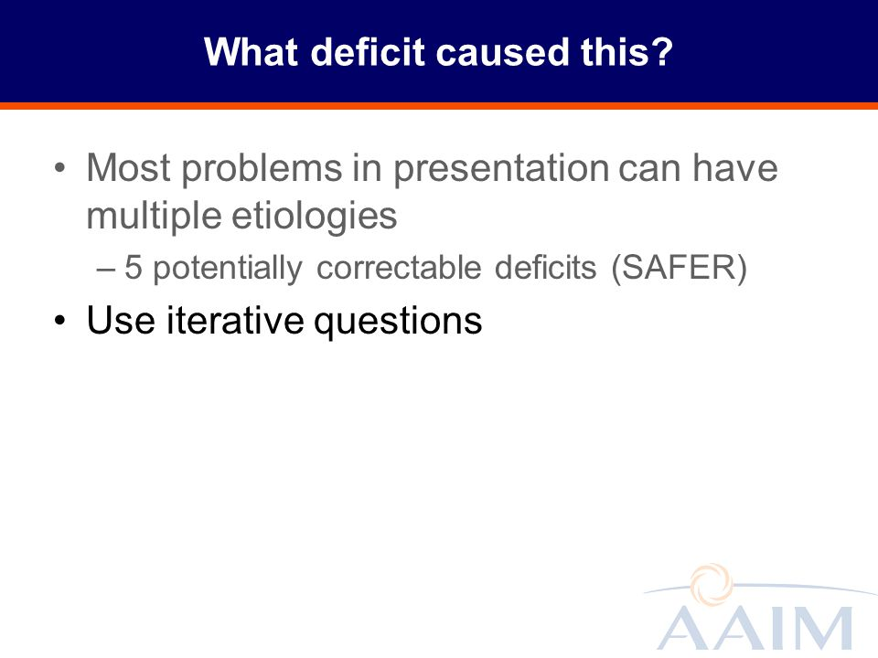 What deficit caused this? Most problems in presentation can have multiple etiologies –5 potentially correctable deficits (SAFER) Use iterative questio