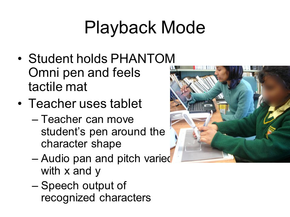 Playback Mode Student holds PHANTOM Omni pen and feels tactile mat Teacher uses tablet –Teacher can move students pen around the character shape –Audi