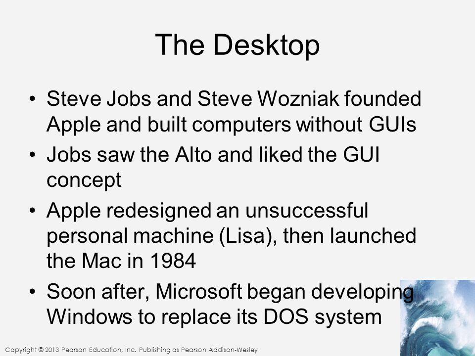 Copyright © 2013 Pearson Education, Inc. Publishing as Pearson Addison-Wesley The Desktop Steve Jobs and Steve Wozniak founded Apple and built compute