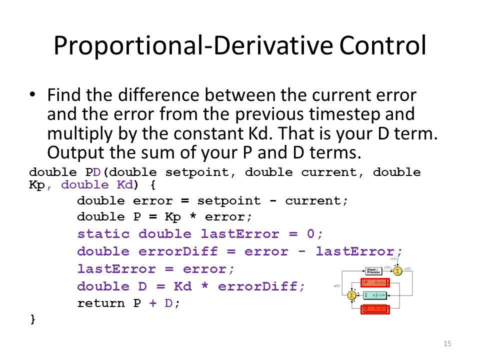 Proportional-Derivative Control Find the difference between the current error and the error from the previous timestep and multiply by the constant Kd