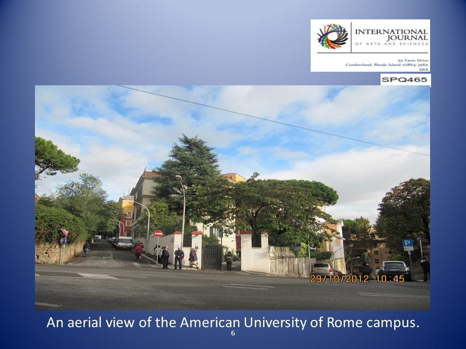 6 An aerial view of the American University of Rome campus.
