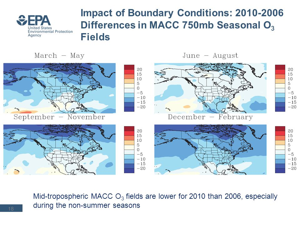 18 Impact of Boundary Conditions: 2010-2006 Differences in MACC 750mb Seasonal O 3 Fields Mid-tropospheric MACC O 3 fields are lower for 2010 than 200