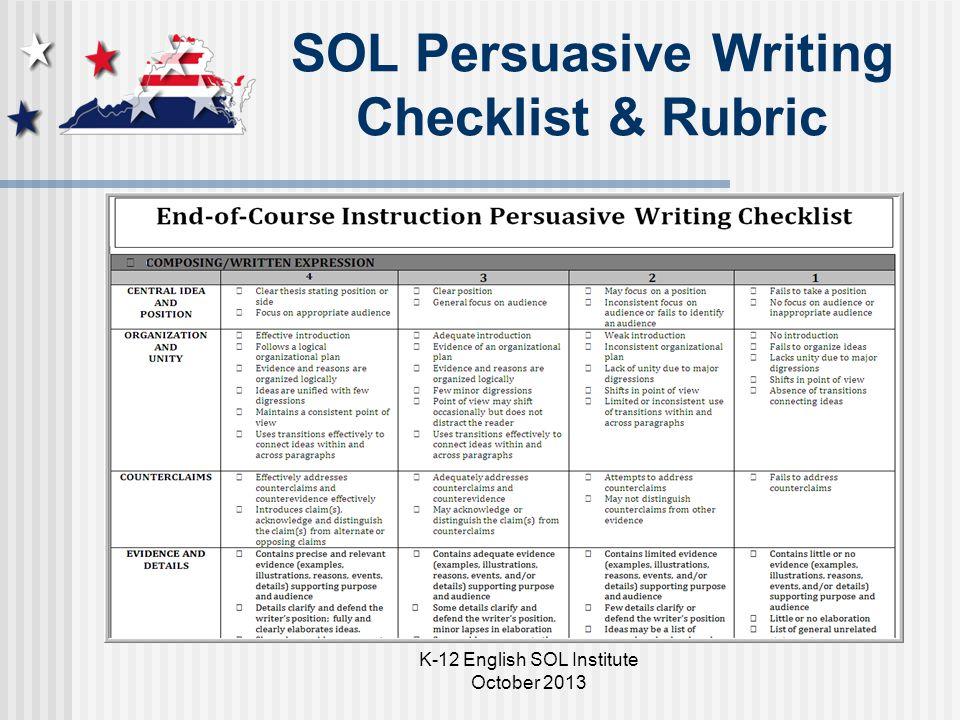 SOL Persuasive Writing Checklist & Rubric Add screenshot K-12 English SOL Institute October 2013