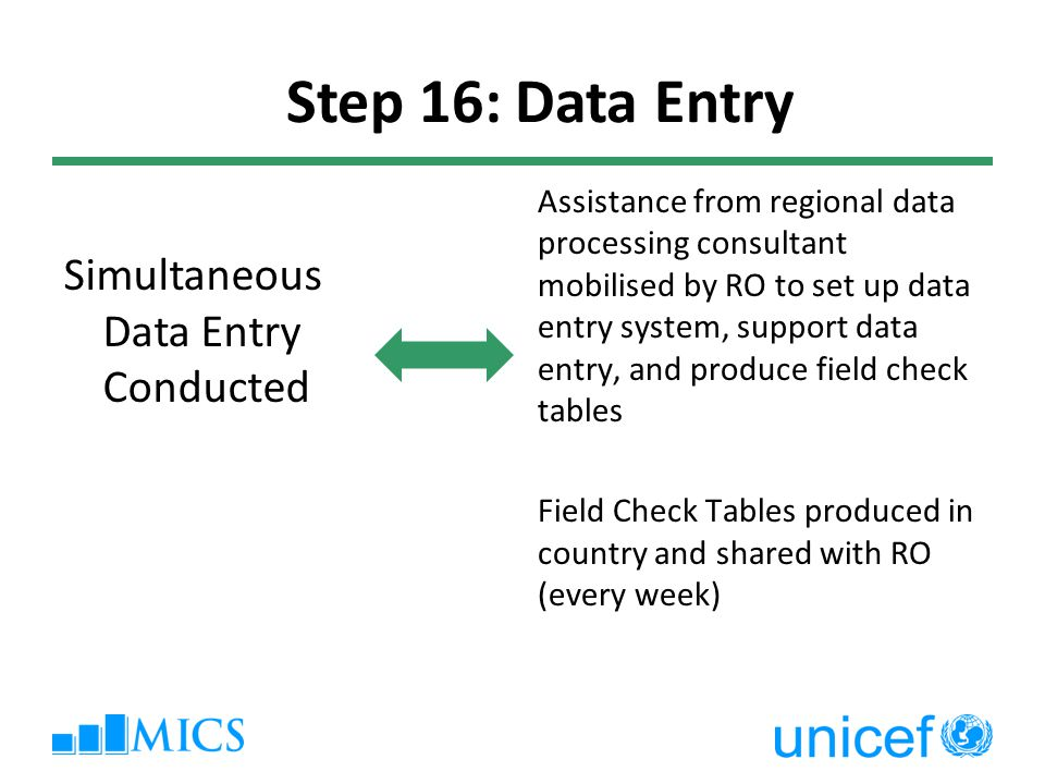 Assistance from regional data processing consultant mobilised by RO to set up data entry system, support data entry, and produce field check tables Field Check Tables produced in country and shared with RO (every week) Step 16: Data Entry Simultaneous Data Entry Conducted
