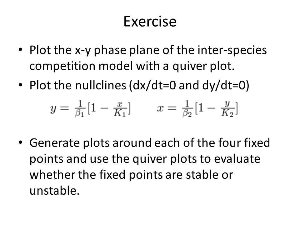 Exercise Plot the x-y phase plane of the inter-species competition model with a quiver plot.