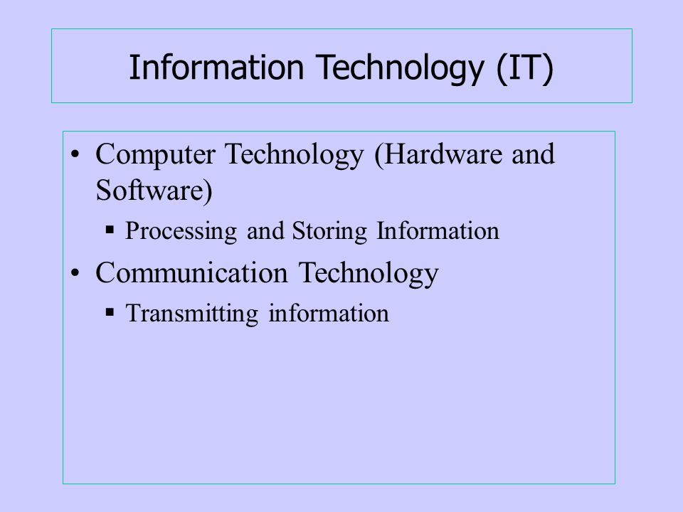 Information Technology (IT) Computer Technology (Hardware and Software) Processing and Storing Information Communication Technology Transmitting information