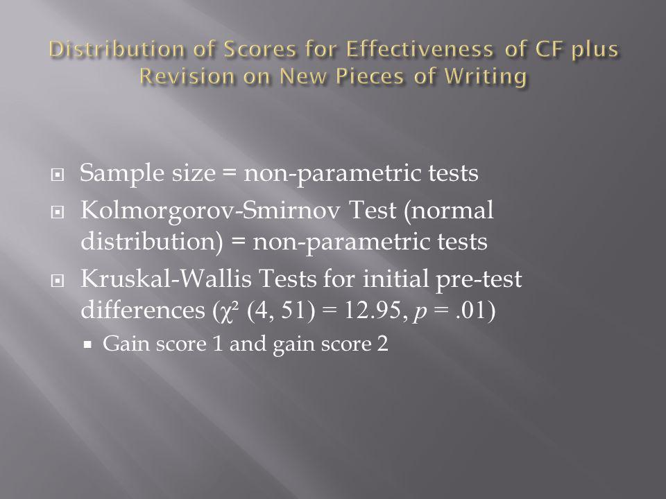 Sample size = non-parametric tests Kolmorgorov-Smirnov Test (normal distribution) = non-parametric tests Kruskal-Wallis Tests for initial pre-test differences (χ² (4, 51) = 12.95, p =.01) Gain score 1 and gain score 2