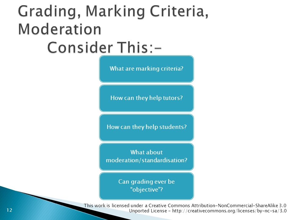 This work is licensed under a Creative Commons Attribution-NonCommercial-ShareAlike 3.0 Unported License - http://creativecommons.org/licenses/by-nc-sa/3.0 What are marking criteria How can they help tutors How can they help students.