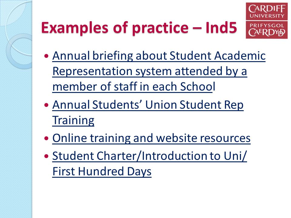 Examples of practice – Ind5 Annual briefing about Student Academic Representation system attended by a member of staff in each School Annual briefing