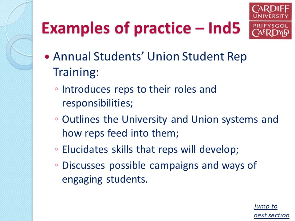 Examples of practice – Ind5 Annual Students Union Student Rep Training: Introduces reps to their roles and responsibilities; Outlines the University a