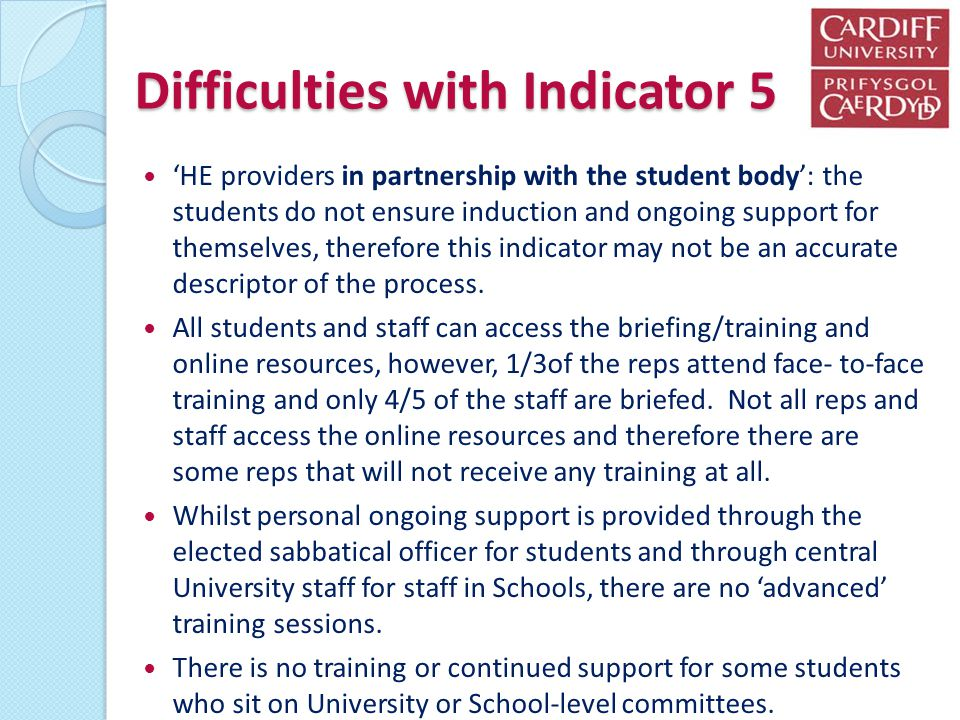 Difficulties with Indicator 5 HE providers in partnership with the student body: the students do not ensure induction and ongoing support for themselv