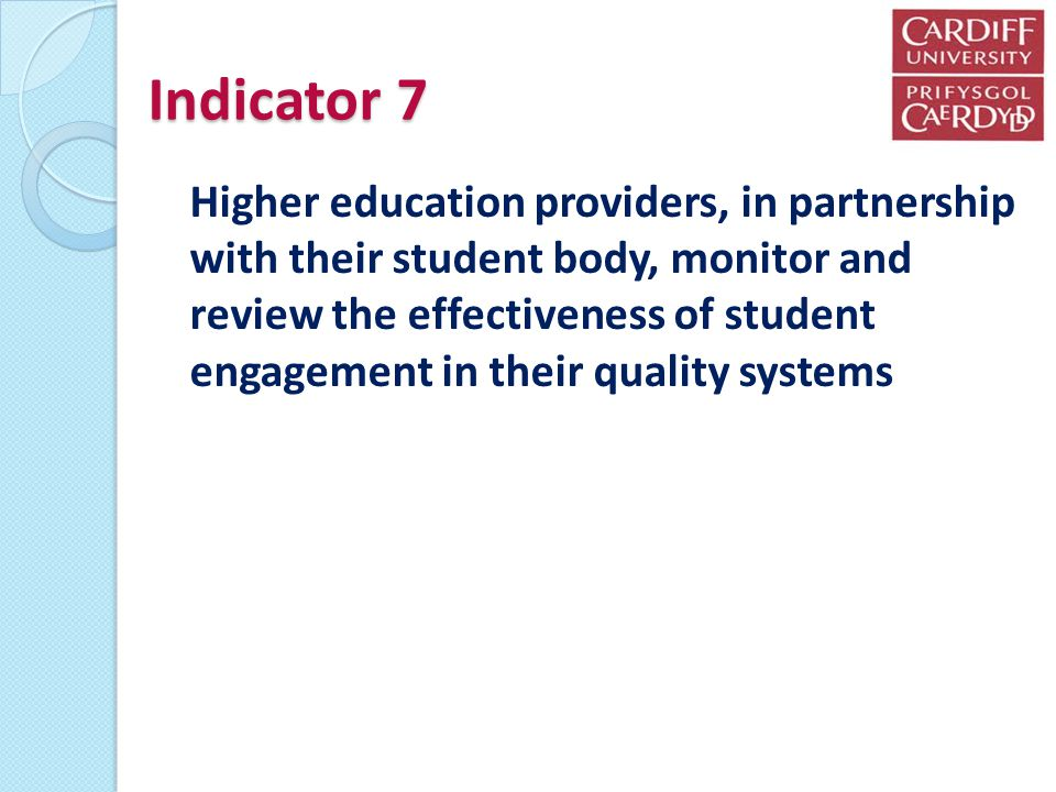 Indicator 7 Higher education providers, in partnership with their student body, monitor and review the effectiveness of student engagement in their quality systems