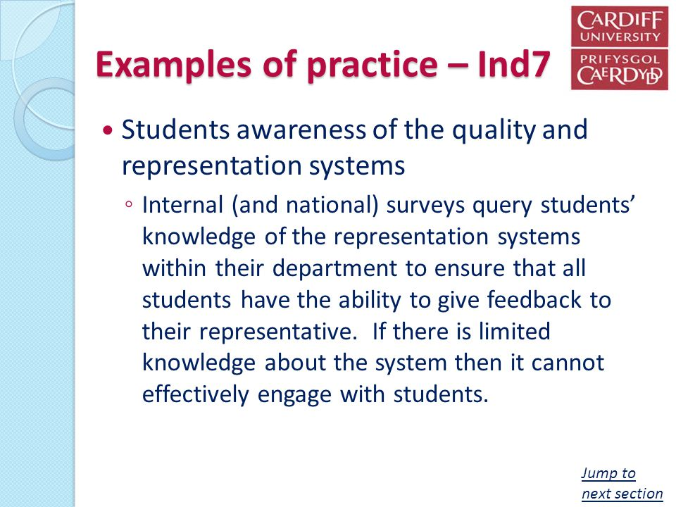 Examples of practice – Ind7 Students awareness of the quality and representation systems Internal (and national) surveys query students knowledge of t