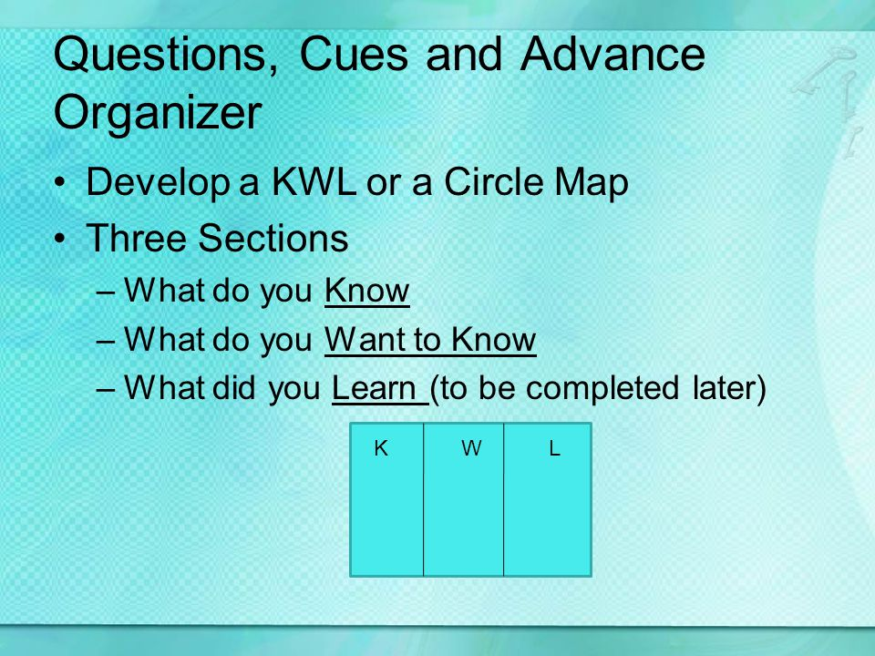 Questions, Cues and Advance Organizer Develop a KWL or a Circle Map Three Sections –What do you Know –What do you Want to Know –What did you Learn (to