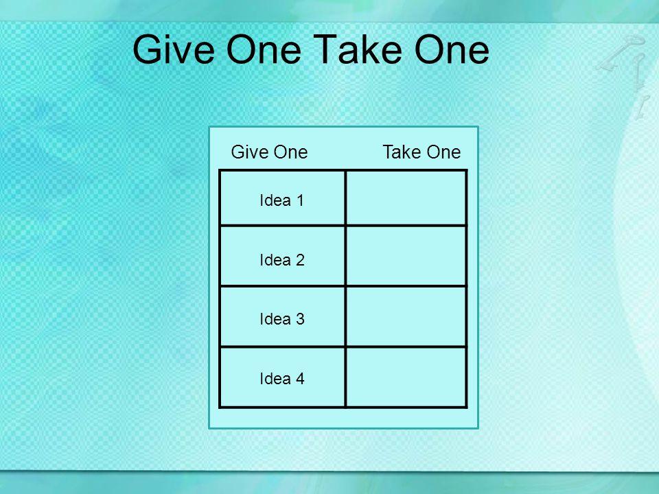 Give One Take One Idea 1 Idea 2 Idea 3 Idea 4