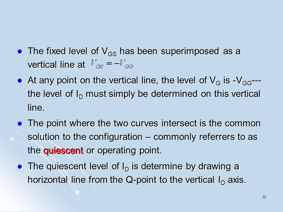 The fixed level of V GS has been superimposed as a vertical line at The fixed level of V GS has been superimposed as a vertical line at At any point o