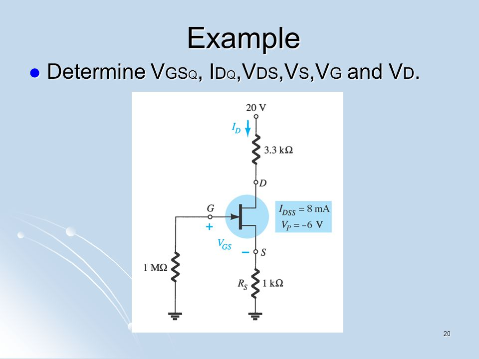 Example Determine V GS Q, I D Q,V DS,V S,V G and V D. Determine V GS Q, I D Q,V DS,V S,V G and V D. 20