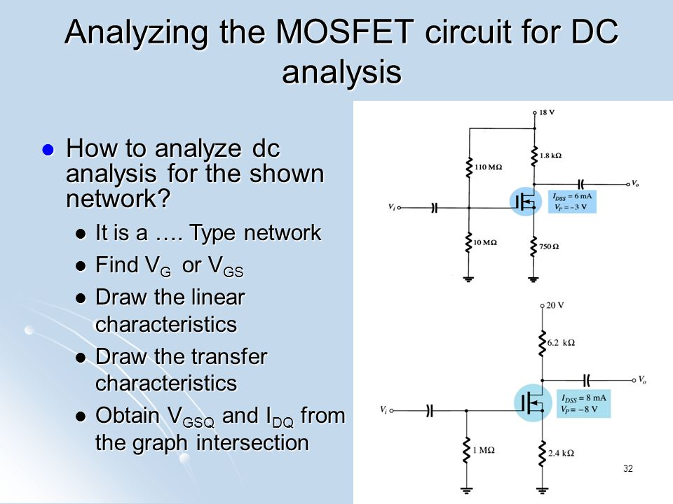 Analyzing the MOSFET circuit for DC analysis How to analyze dc analysis for the shown network? How to analyze dc analysis for the shown network? It is