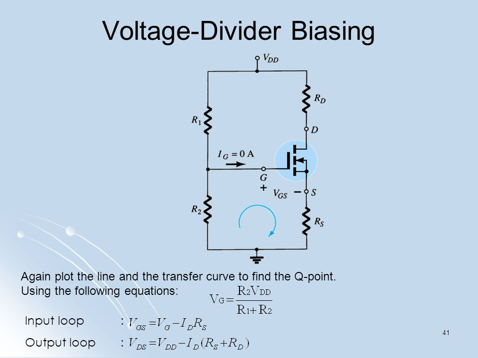 Again plot the line and the transfer curve to find the Q-point. Using the following equations: Input loop: Output loop: Voltage-Divider Biasing 41
