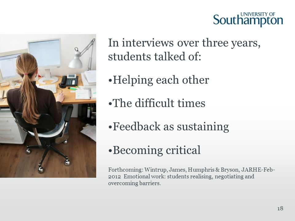 In interviews over three years, students talked of: Helping each other The difficult times Feedback as sustaining Becoming critical Forthcoming: Wintr