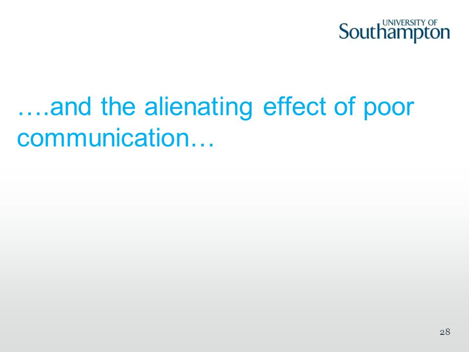 ….and the alienating effect of poor communication… 28
