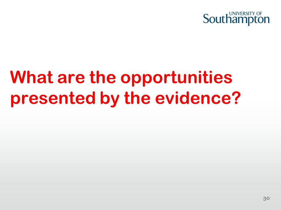 What are the opportunities presented by the evidence? 30