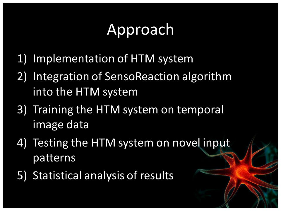 Approach 1)Implementation of HTM system 2)Integration of SensoReaction algorithm into the HTM system 3)Training the HTM system on temporal image data 4)Testing the HTM system on novel input patterns 5)Statistical analysis of results