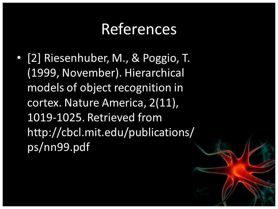 References [2] Riesenhuber, M., & Poggio, T. (1999, November).