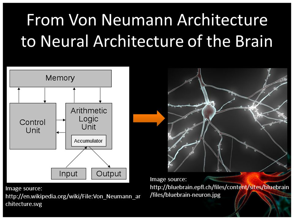 From Von Neumann Architecture to Neural Architecture of the Brain Image source: http://en.wikipedia.org/wiki/File:Von_Neumann_ar chitecture.svg Image source: http://bluebrain.epfl.ch/files/content/sites/bluebrain /files/bluebrain-neuron.jpg
