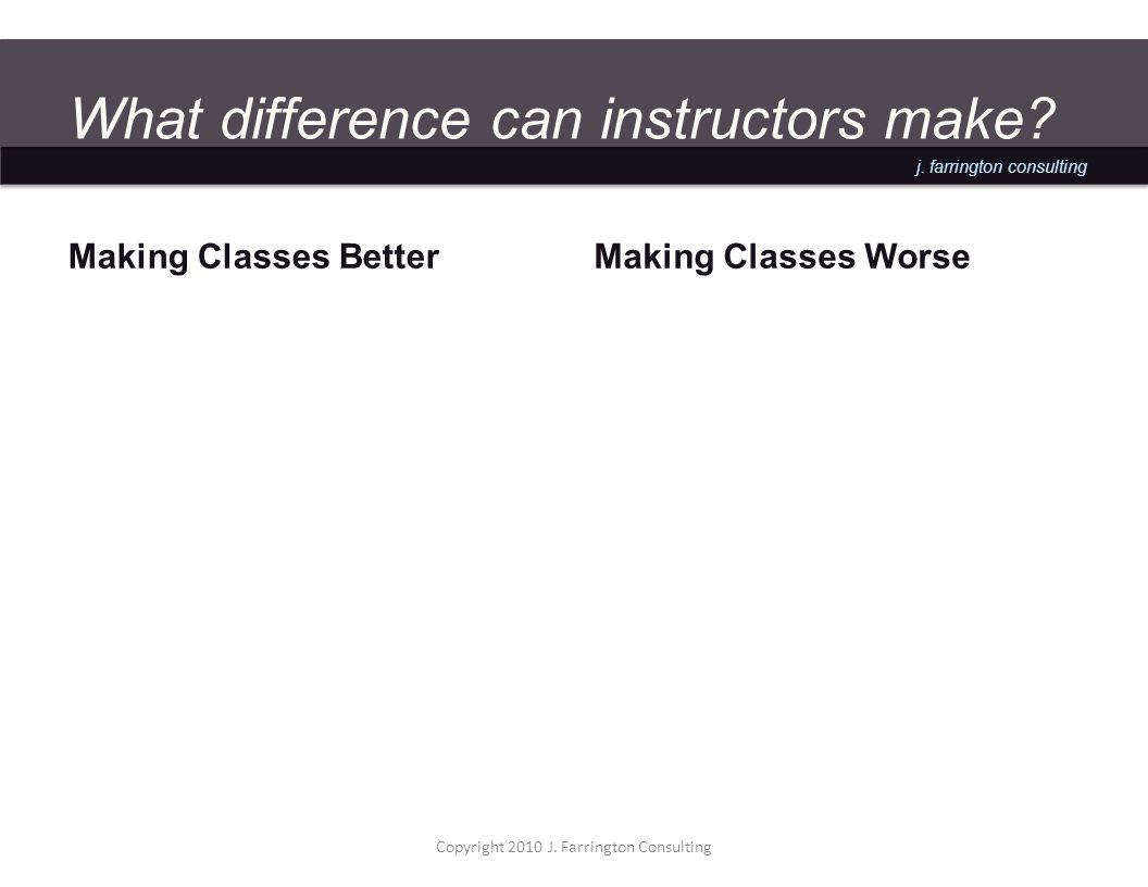 j. farrington consulting What difference can instructors make.