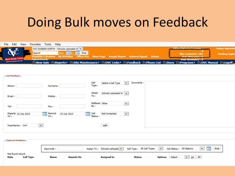 Doing Bulk moves on Feedback