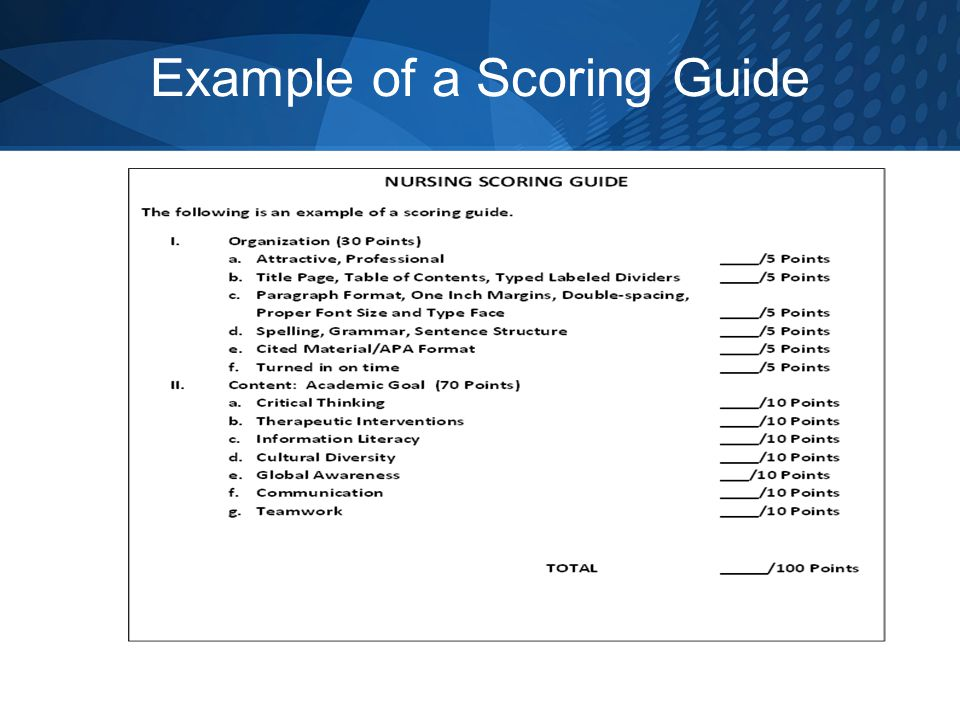 Example of a Scoring Guide