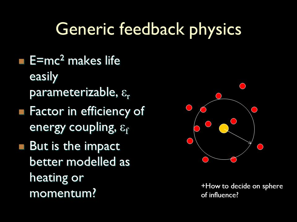 Generic feedback physics E=mc 2 makes life easily parameterizable, ε r E=mc 2 makes life easily parameterizable, ε r Factor in efficiency of energy coupling, ε f Factor in efficiency of energy coupling, ε f But is the impact better modelled as heating or momentum.