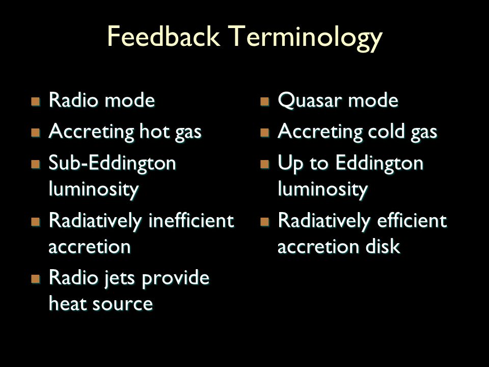 Feedback Terminology Radio mode Radio mode Accreting hot gas Accreting hot gas Sub-Eddington luminosity Sub-Eddington luminosity Radiatively inefficie
