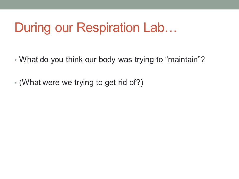During our Respiration Lab… What do you think our body was trying to maintain? (What were we trying to get rid of?)