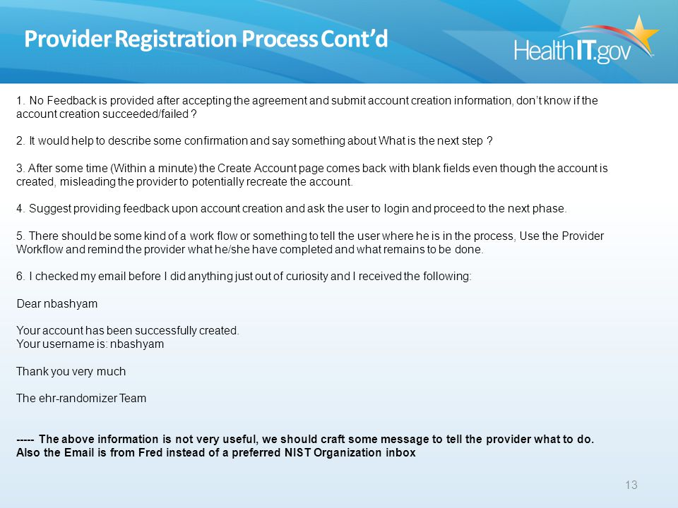 Provider Registration Process Contd 13 1.