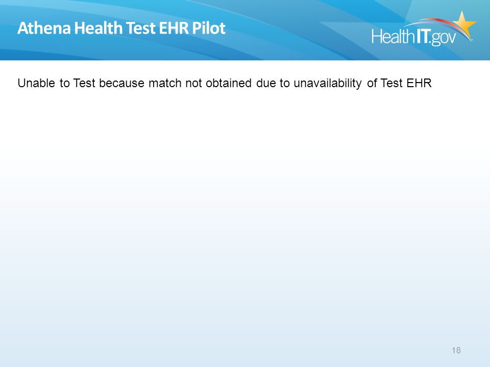 Athena Health Test EHR Pilot 18 Unable to Test because match not obtained due to unavailability of Test EHR