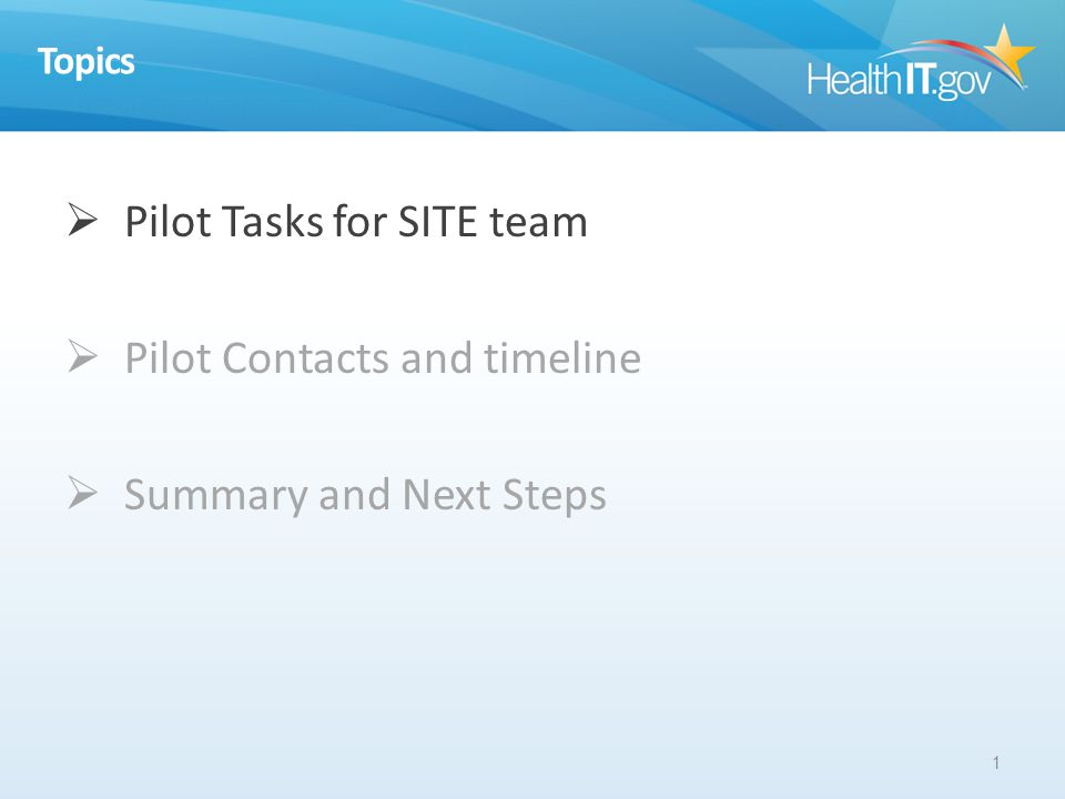 Topics Pilot Tasks for SITE team Pilot Contacts and timeline Summary and Next Steps 1