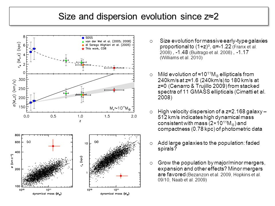 o Size evolution for massive early-type galaxies proportional to (1+z) α, α=-1.22 (Franx et al.