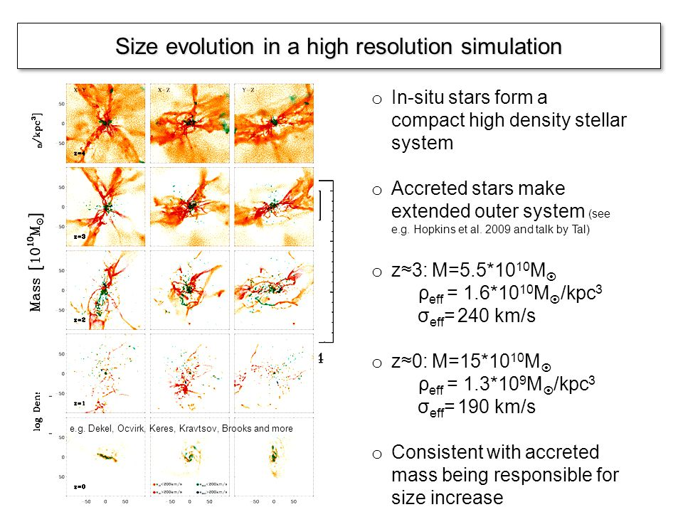 Size evolution in a high resolution simulation Naab, Johansson & Ostriker 2007/2009 o In-situ stars form a compact high density stellar system o Accreted stars make extended outer system (see e.g.