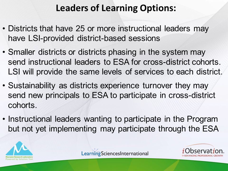 Leaders of Learning Options: Districts that have 25 or more instructional leaders may have LSI-provided district-based sessions Smaller districts or d