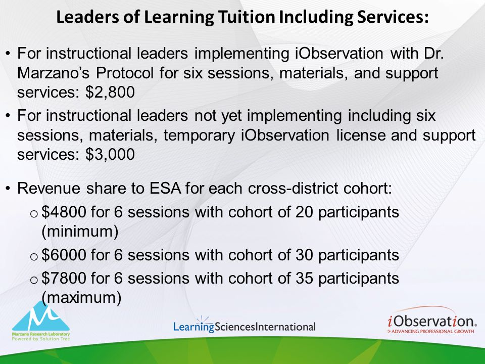Leaders of Learning Tuition Including Services: For instructional leaders implementing iObservation with Dr. Marzanos Protocol for six sessions, mater