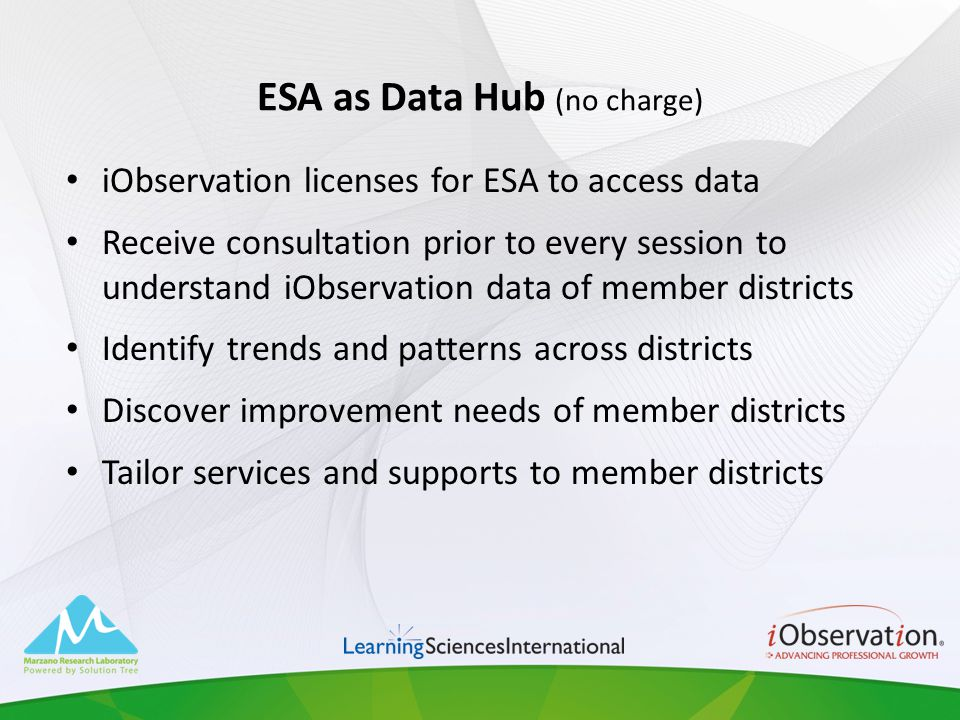 ESA as Data Hub (no charge) iObservation licenses for ESA to access data Receive consultation prior to every session to understand iObservation data o