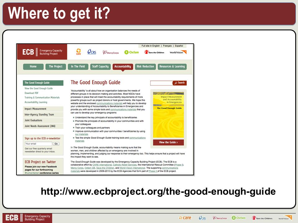 Where to get it http://www.ecbproject.org/the-good-enough-guide
